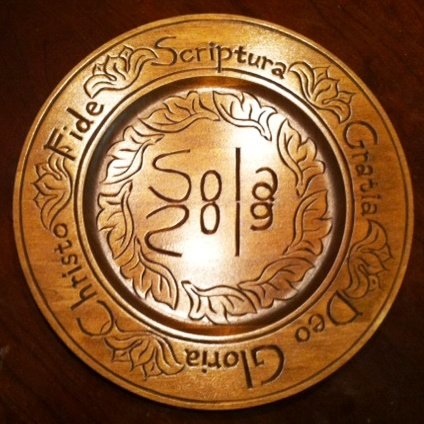 Post image for For Sale: Hand-Carved Five Solas Plate